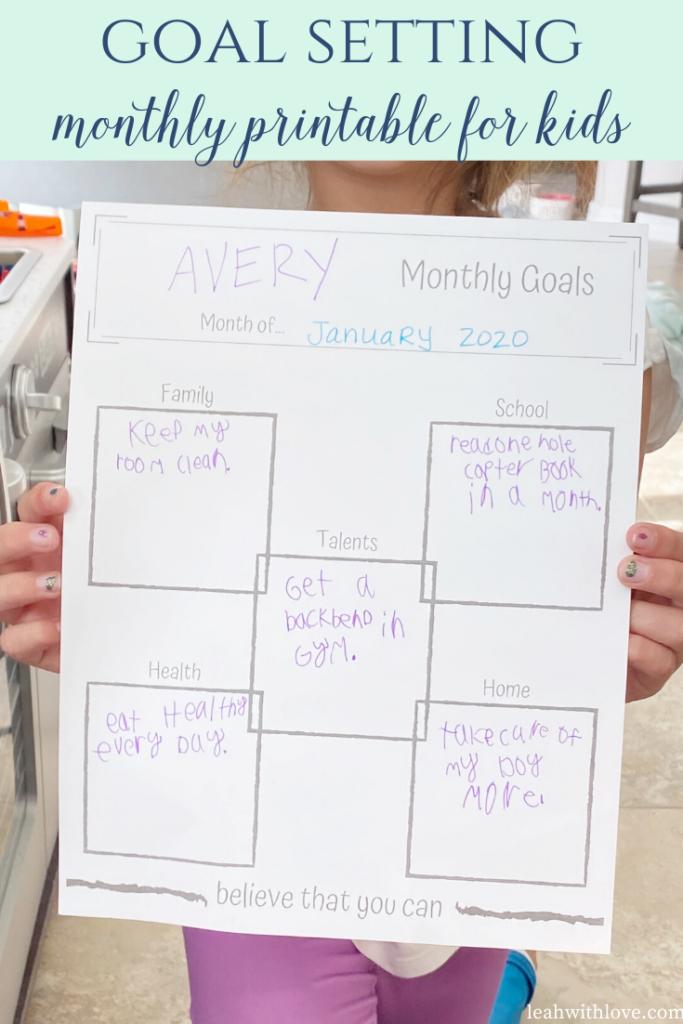kids monthly goals printable